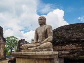 The Ancient Sitting Buddha Statue At Vatadage Temple In Polonnaruwa Ancient City (846 Ad poster