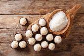 Delicious Coconut Kisses (beijinhos De Coco Or Branquinhos)  - Festive Brazilian Sweets Close-up. Ho poster
