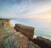Beautiful seascape nature cliff. Beautiful nature composition. poster