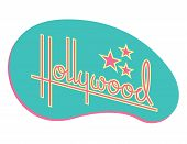 Hollywood Retro Vector Design With Stars. Custom Hand Drawn Script Design Of The Word Hollywood With poster