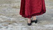 Photo Of Flamenco Dancer. Legs Fragment Photo Of Spanish Flamenco Dancer.  Only Legs Cropped. Flamen poster