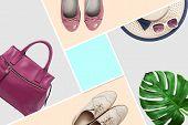 Trendy Accessories Clothes Fashion Set. Stylish Woman Accessories, Handbag Clutch, Denim, Glamor Sho poster
