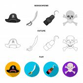 Pirate, Bandit, Cap, Hook .pirates Set Collection Icons In Flat, Outline, Monochrome Style Vector Sy poster