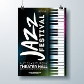 Jazz Music Festival Flyer Design With Piano Keyboard On Dark Background. Vector Party Illustration T poster