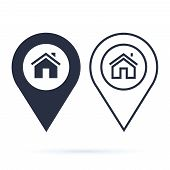 Home Gps Map Pointer, Map Pin Icon Arrow Pin, Compass Location. Map Pointer House Sign Icon. Residen poster