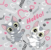 Hello! Meow! Small, Pretty Kittens On A Gray Background. Seamless Pattern For Your Design poster