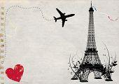Постер, плакат: Париж Эйфелева башня пустой карты