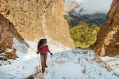 Hiker On Footpath In Sella Ronda Mountain South Tyrol, Italy poster