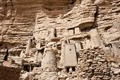 stock photo of dogon  - Dogon village in Mali, below the Bandiagara Escarpment (west Africa).