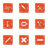 Composite Material Icons Set. Grunge Set Of 9 Composite Material Vector Icons For Web Isolated On Wh poster