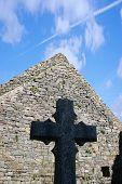 stock photo of irish moss  - a celtic cross in an irish graveyard - JPG