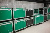 Set Of Green And Black Aluminum Wooden Flight Cases. Musical Instrument Cases. poster