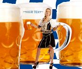Crazy Octoberfest Style With Tiroler Girl Serving Beer