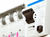 pic of fuse-box  - Closeup view of several automatic electric fuses - JPG