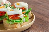 Open Faced Sandwich With Toast And Fresh Vegetable And Boil Egg. Grilled Sandwich Top With Salad Dre poster
