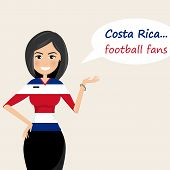 Costa Rica Football Fans.cheerful Soccer Fans, Sports Images.young Woman,pretty Girl Sign.happy Fans poster