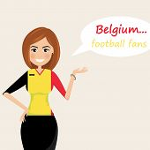 Belgium Football Fans.cheerful Soccer Fans, Sports Images.young Woman,pretty Girl Sign.happy Fans Ar poster