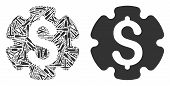 Financial Settings Gear Mosaic Of Workshop Instruments. Vector Financial Settings Gear Icon Is Organ poster