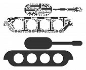 Military Tank Collage Of Repair Tools. Vector Military Tank Icon Is Constructed Of Cogs, Spanners An poster