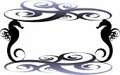 picture of seahorse  - Square frame formed by dark blue swirl ornaments and two black sea horses - JPG