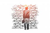 Dead End, Problem, Impasse, Ponder Concept. Hand Drawn Man Stand In Front Of Brick Wall, Symbol Of D poster