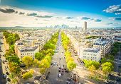 Panoramic Skyline Of Paris City Towards La Defense District From Above, France, Retro Toned poster