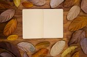Open Sketchbook With Yellow Paper On Warm Wooden Background. Orange Leaf Frame On Table Top View. Em poster