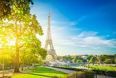 View Of Eiffel Tower Landmark From Trocadero At Sunrise, Paris, France, Toned poster