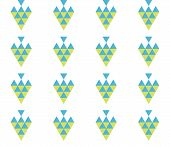 Seamless Geometric Pattern Wth Colorful Triangles On White Background. Seamless Abstract Triangle Ge poster