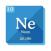 Neon Chemical Element. Periodic Table Of The Elements. Neon Icon On Blue Background. Vector Illustra poster