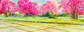 Painting Watercolor Landscape Pink Color Of Cherry Blossom Flowers, Cornfield,  Mountain In The Spri poster