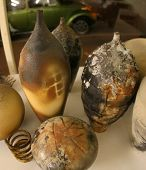 picture of raku  - A cluster of handmade and raku fired ceramics - JPG