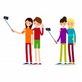 Woman Selfie. Woman Selfie In Cartoon Style. Selfie Concept. Tourist Vacation Self-portrait. Happy W poster
