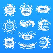 Cow Milk Splashes With Letters. Isolated White Fresh Farm Goat Milks Splash Drop Silhouette Icon For poster