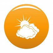 Blue Cloudy Sun Icon. Simple Illustration Of Blue Cloudy Sun Vector Icon For Any Design Orange poster