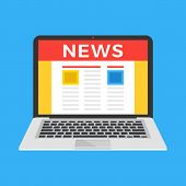 Reading News On Laptop. Laptop With Newspaper, Newsletter, News Website On Screen. Modern Flat Desig poster