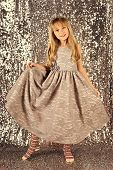 Kids Fashion. Little Girl In Fashionable Dress, Prom. Fashion Model On Silver Background, Beauty. L poster