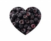 Blackberries In Heart Shape Isolated On A White. Fresh Black Berry Background. Texture Black Berry B poster