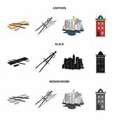 Drawing Accessories, Metropolis, House Model. Architecture Set Collection Icons In Cartoon, Black, M poster