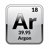 Argon Symbol.chemical Element Of The Periodic Table On A Glossy White Background In A Silver Frame.v poster