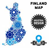 Repair Service Finland Map Collage Of Gears. Abstract Territory Scheme In Blue Shades. Vector Finlan poster
