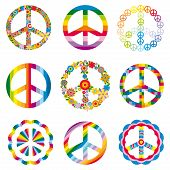 stock photo of peace-sign  - set of abstract peace symbols vector illustration - JPG