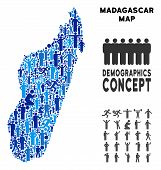 Постер, плакат: Vector Population Madagascar Island Map Demography Abstraction Of Madagascar Island Map Designed Of