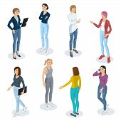 Set Of Isometric 3d Flat Design Vector People Different Characters, Styles  And Professions. Isometr poster