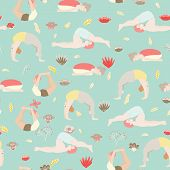 Yoga Seamless Pattern With Cartoon Girl And Boy Doing Yoga Position. Pose Of Onion, Or Dhanurasan, P poster