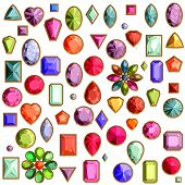 Vector Set Of Realistic Precious Stones Jewels Isolated On White Background With Different Cuts. Pri poster
