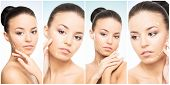 Beautiful face of young and healthy girl in collage collection. Plastic surgery, skin care, cosmetic poster