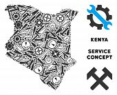 Service Kenya Map Composition Of Tools. Abstract Territory Plan In Gray Color. Vector Kenya Map Is D poster