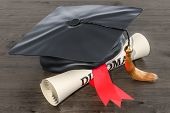 Square Academic Cap, Graduation Cap And Diploma Scroll, 3d Rendering  Isolated On White Background poster