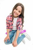 Happy Ride. Kid Girl Happy Sits Penny Board. Originally Designed As Girls Skateboard. Modern Teen Ho poster
